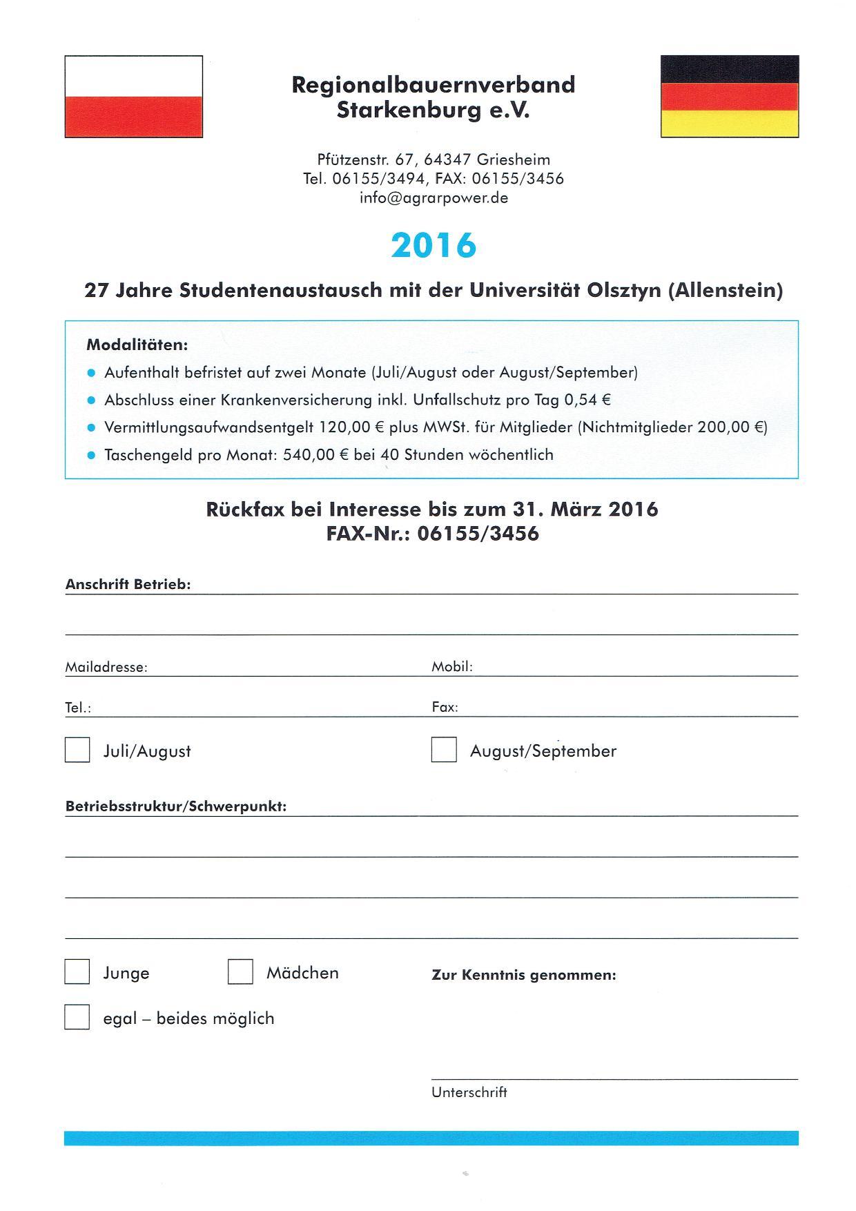 27 Jahre Studentenaustausch mit der Universität Olsztyn (Allenstein)