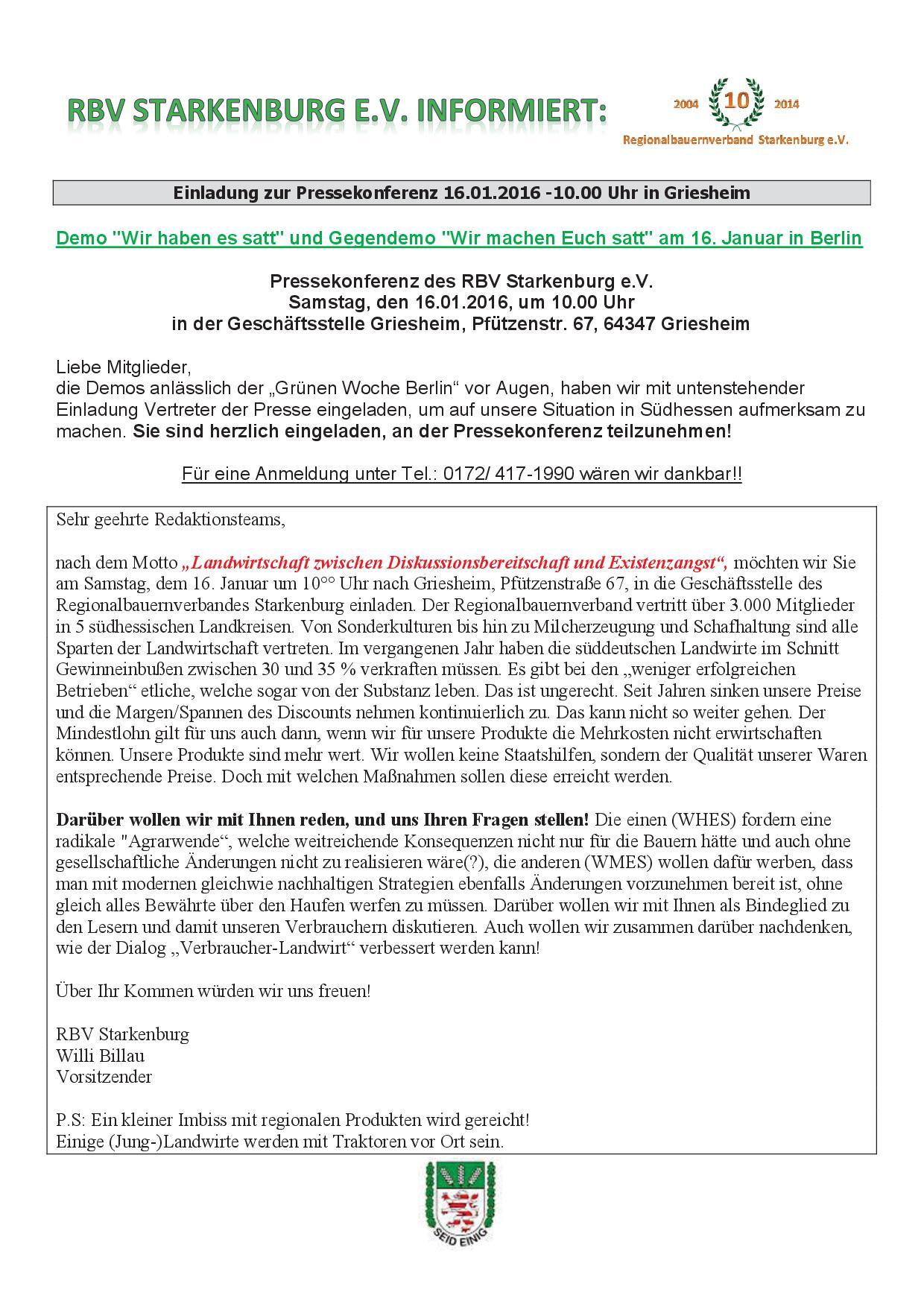 RBV Starkenburg informiert Pressekonferenz 16.01.2016