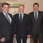 Thomas Kunz, Vizepräsident HBV; Carsten Schmal, Präsident HBV; Eberhard Hartelt, Präsident des Bauern- und Winzerverbandes Rheinland-Pfalz Süd und Umweltbeauftragter des DBV
