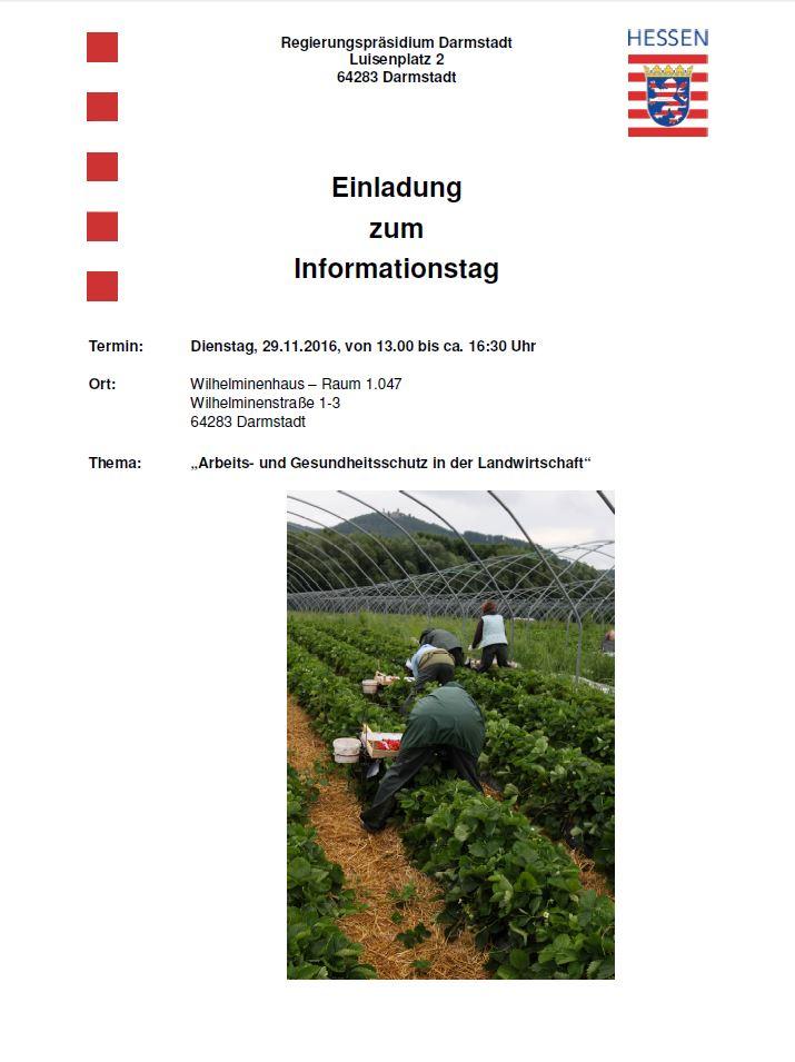 """RP-Infotag """"Arbeits- und Gesundheitsschutz in der Landwirtschaft"""""""