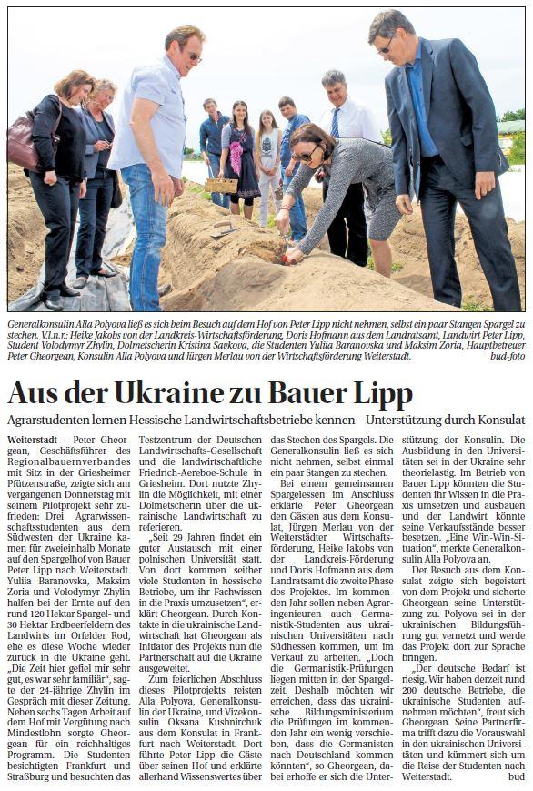 """Aus der Presse: """"Aus der Ukraine zu Bauer Lipp"""""""