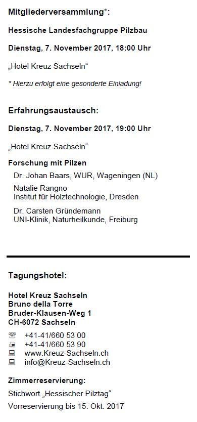 Mitgliederversammlung Landesfachgruppe Pilzbau