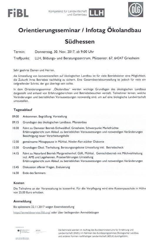Orientierungsseminar / Infotag Ökolandbau Südhessen