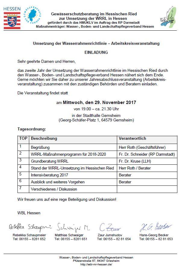 WBL Arbeitskreis - Umsetzung der Wasserrahmenrichtlinie