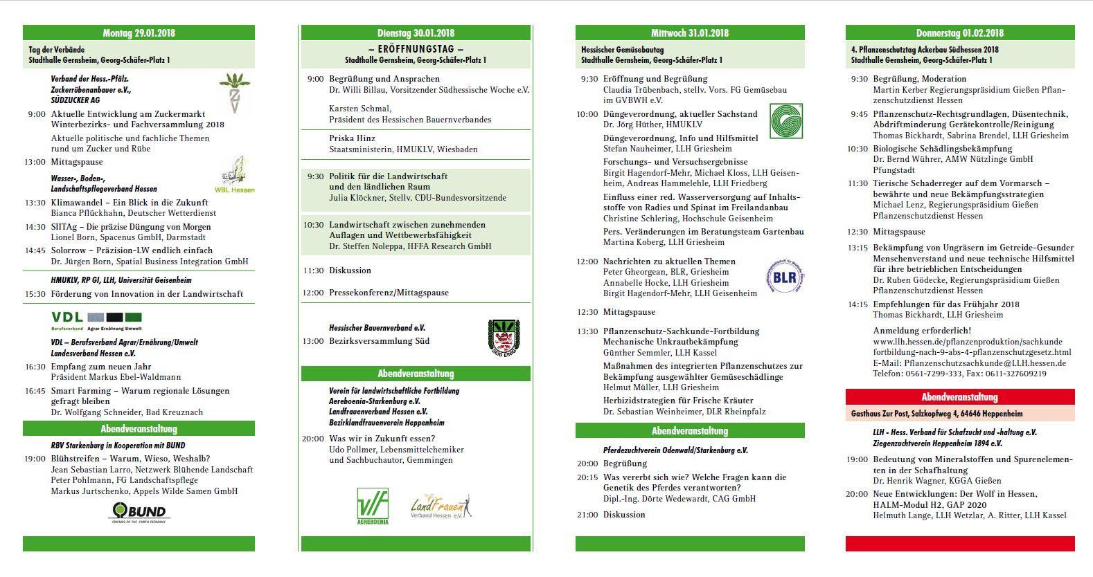Programm 63. Landwirtschaftliche Woche Südhessen 2018