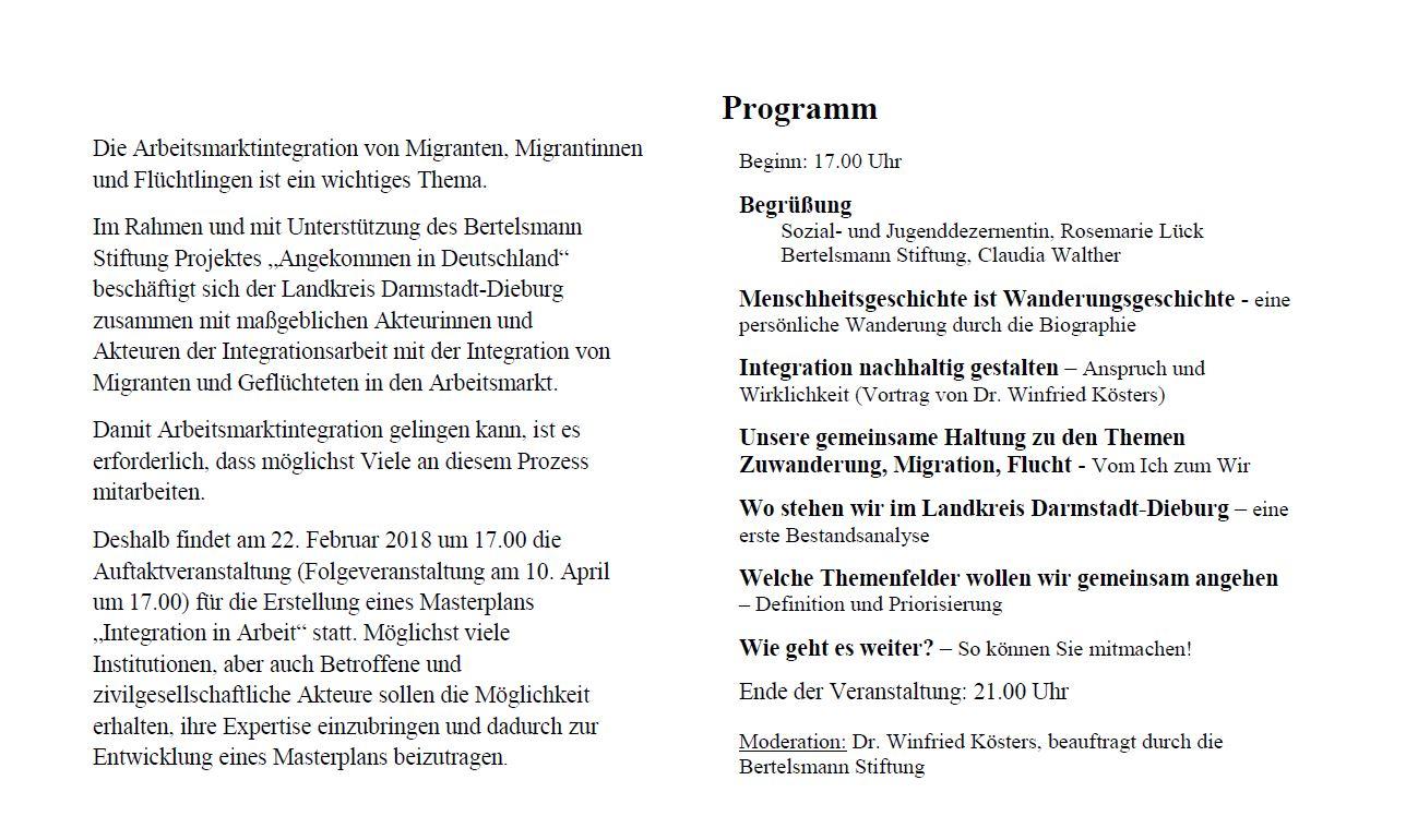"""Auftaktveranstaltung """"Masterplan Integration in Arbeit"""" Landkreis Darmstadt-Dieburg"""