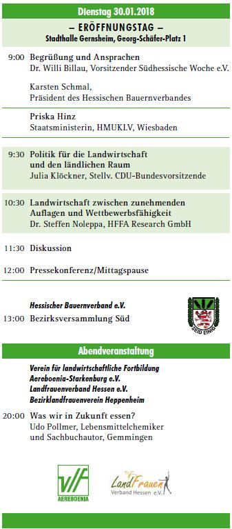 Julia Klöckner kommt am Dienstag, den 30. Januar 2018 nach Gernsheim zur 63. Landwirtschaftlichen Woche Südhessen