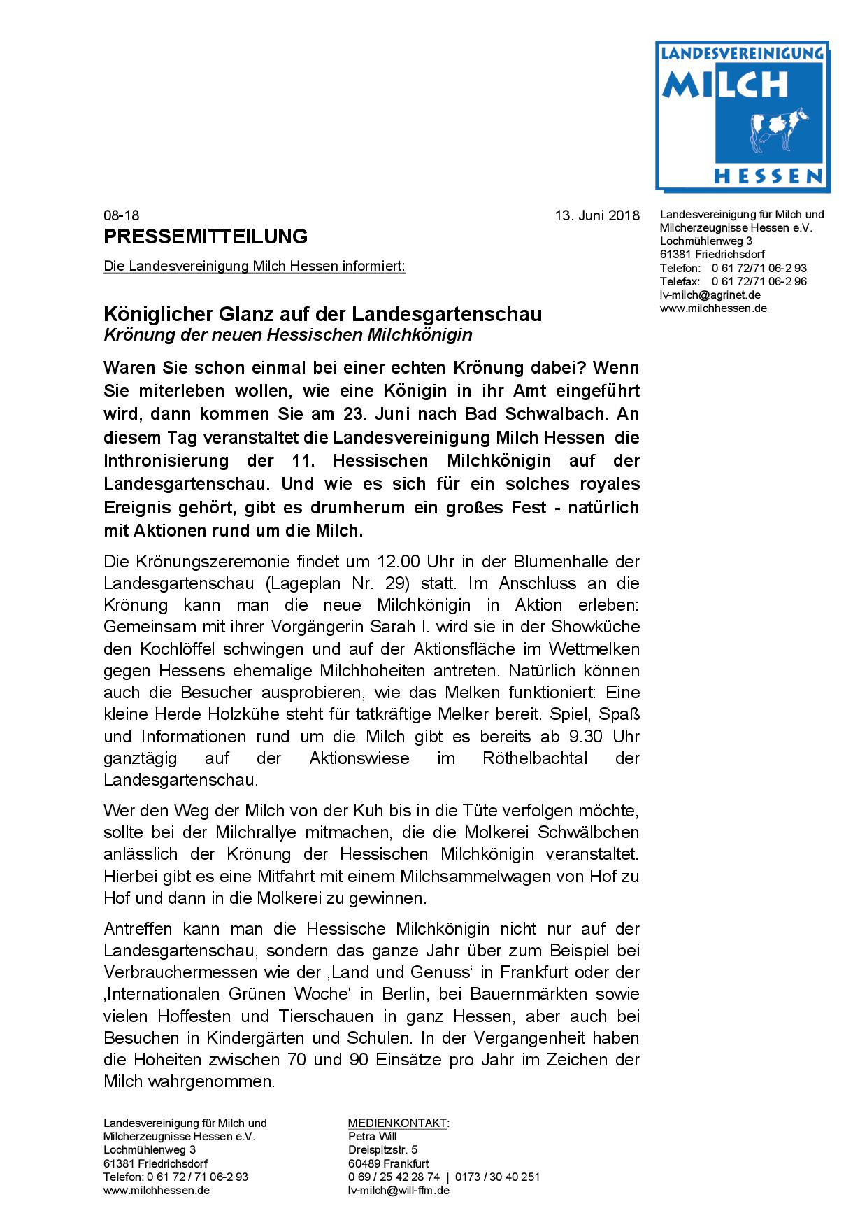 Krönung der neuen Hessischen Milchkönigin am 23. Juni auf der Landesgartenschau in Bad Schwalbach