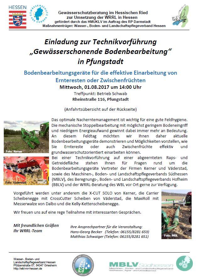 "WRRL - Technikvorführung ""Gewässerschonende Bodenbearbeitung"""