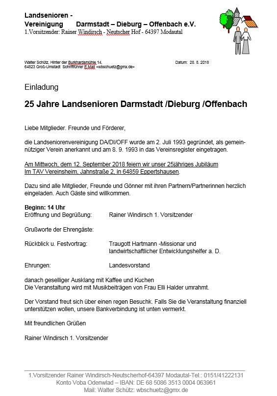 25 Jahre Landsenioren Darmstadt-Dieburg-Offenbach
