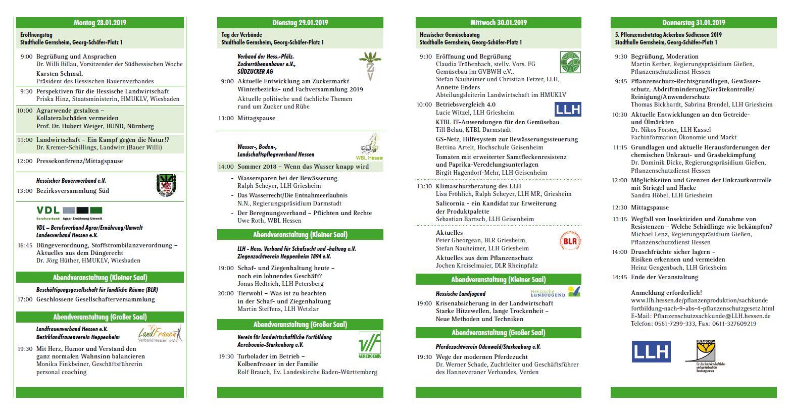 Programm Südhessische Woche 2019