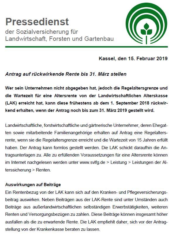 Pressedienst SVLFG