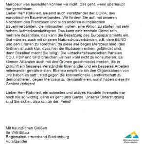 """Offener Brief von Dr. Willi Billau an DBV-Vorsitzenden Joachim Rukwied zum Freihandelsabkommen """"Mercosur"""""""