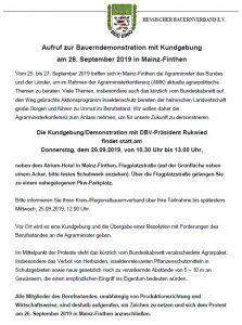 Aufruf zur Bauerndemonstration am 26.09.2019 in Mainz-Finthen