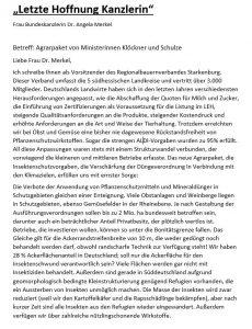 Offener Brief von Dr. Willi Billau an Bundeskanzlerin Angela Merkel zum geplanten Agrarpaket