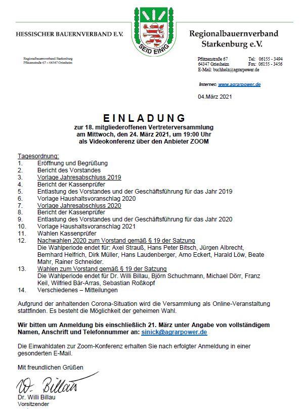 Einladung zur RBV-Vertreterversammlung 2021