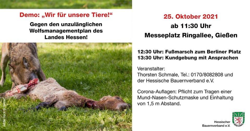Weidetierhalter-Demo am 25.10. in Gießen